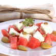 Melon and feta salad — Stock Photo
