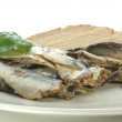Stock Photo: Some sprats and bread