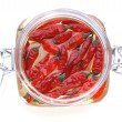 Organic red chili in a jar — Stock Photo