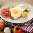 Stock Photo: Fried egg with organic potato