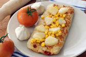 Stone oven backed pizza — Stock Photo
