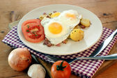 Fried egg with organic potato — Stock Photo