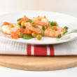 Stock Photo: Shrimps with mangetout pea