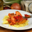 Stock Photo: Curry rice with sweet sour chicken