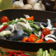 Stock Photo: See bream with mediterranevegetable