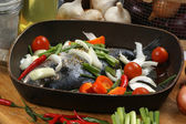 See bream with mediterranean vegetable — Stock Photo