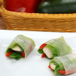 Chicken and vegetable bundles — Stock Photo