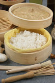 Rice in a bamboo steamer — Stock Photo