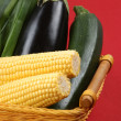 Sweet corn and fresh eggplant — Stock Photo