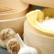 Steamed in a bamboo steamer — Stock Photo