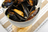 Organic mussel in garlic butter — Stock Photo