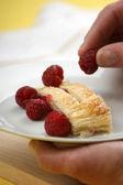 Fruit strudel with sweet raspberries — Stock Photo