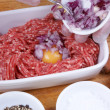 Stock Photo: Make home made pork tatar