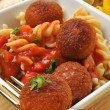 Chicken meat balls with pasta — Stock Photo