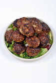 Rissole with organic salad on a plate — Stock Photo