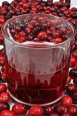 Cranberries and juice in a glass — Stock Photo