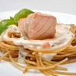 Steamed salmon steak with pasta — Stock Photo