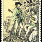 Постер, плакат: Vintage postage stamp Hunters