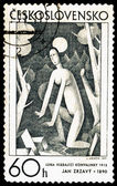 Postage stamp. The moon and the woman. — Stock Photo