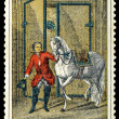 Postage stamp. The equestrian and horse — Foto de Stock
