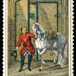 郵便切手。馬術と馬 — ストック写真