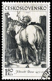 Postage stamp. The knight and horse — Stock Photo