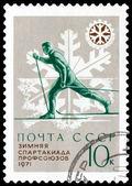 Vintage postage stamp. The skier — Stock Photo