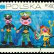 Postage stamp.  Drawings of children — Stok fotoğraf