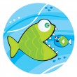 Big fish eating a little fish - 图库矢量图片