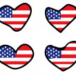 Set of hearts with american flag — Stock Vector #1536848