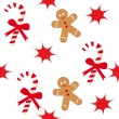 Candy cane and gingerbread man — Vector de stock