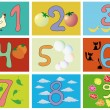Numbers with pictures — Stock Vector