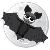 Cartoon bat on the moon background — Stock Vector