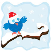 Winter image with cartoon blue bird — Stock Vector
