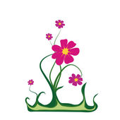 Fairy plant with crimson flowers — Stock Vector