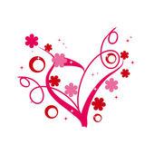 Coeur floral abstrait — Vecteur