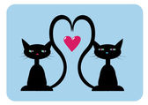 Two black cats in love — Stock Vector