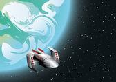 Space ship in orbit — Stock Vector