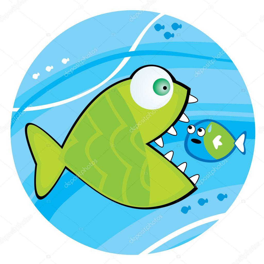 Big fish eating a little fish stock vector lillllia for Big fish script