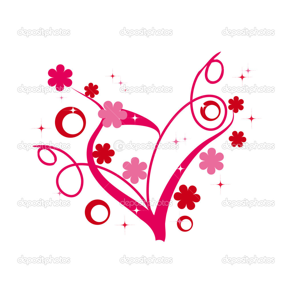 Abstract floral heart fo valentine's day  Stock vektor #1536955