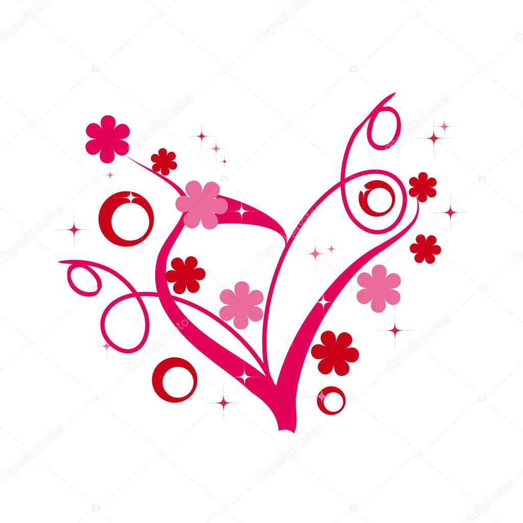Abstract floral heart fo valentine's day — Image vectorielle #1536955
