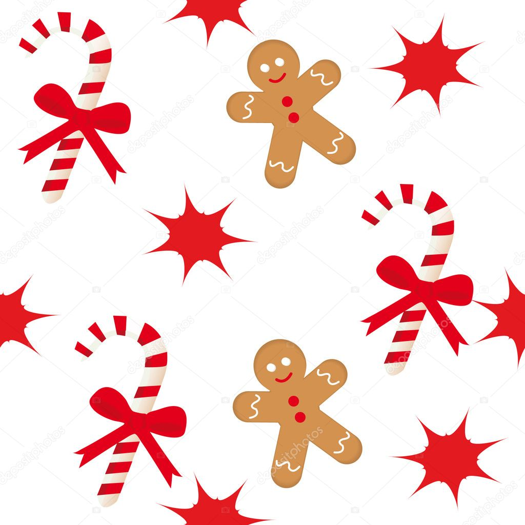 Seamless pattern with candy cane, star and gingerbread man  Stock Vector #1536990