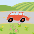 Cartoon car on-the-way - Stock Vector