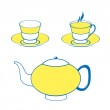 Two cups and the teapot — Stock Vector