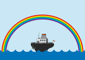 Rainbow and little steamboat — Stock Vector