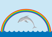 The rainbow and jumping dolphin — Stock Vector