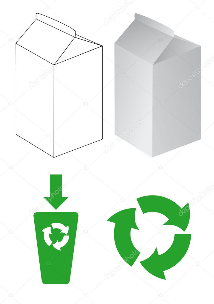 Vector set with cartons for milk and eco-symbols — Imagen vectorial #1555460