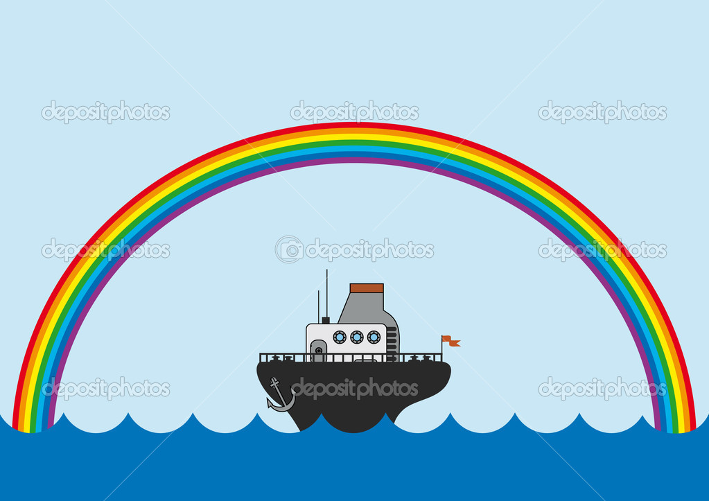 Background with the rainbow and little steamboat — Stock Vector #1555474