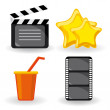 Royalty-Free Stock Vector Image: Four color movie icons