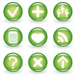 Set of green web icons for your design — Stock Vector